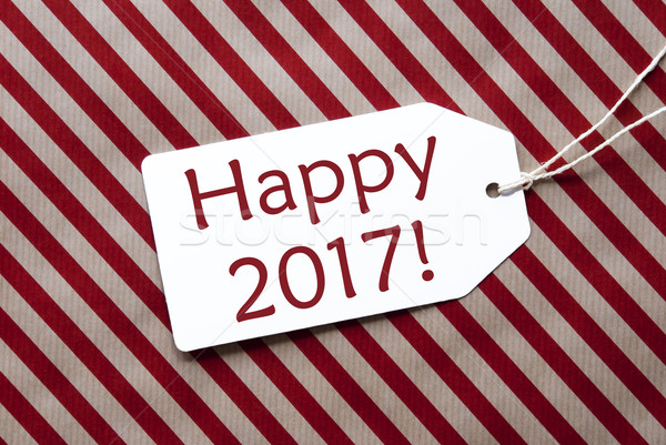 Label On Red Wrapping Paper, Text Happy 2017 Stock photo © Nelosa