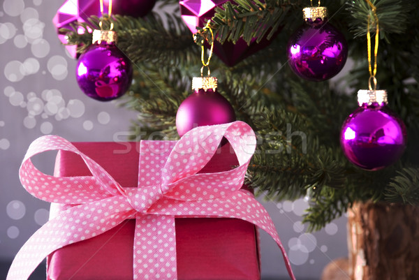 Gift With Tree, Bokeh Effect, Copy Space Stock photo © Nelosa