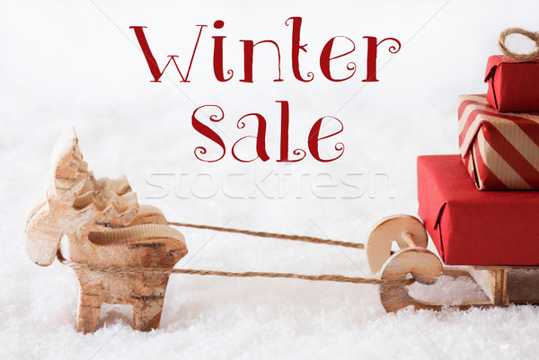 Reindeer With Sled On Snow, Text Winter Sale Stock photo © Nelosa