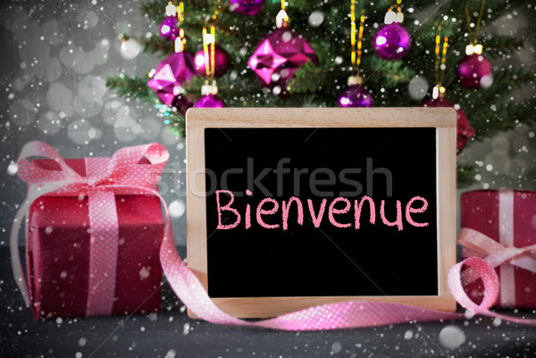 Tree With Gifts, Snowflakes, Bokeh, Bienvenue Means Welcome Stock photo © Nelosa