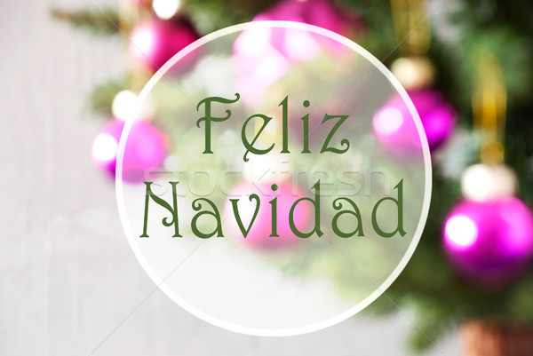 Blurry Balls, Rose Quartz, Feliz Navidad Means Merry Christmas Stock photo © Nelosa