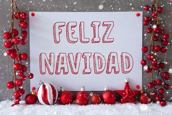 Label, Snowflakes, Balls, Feliz Navidad Means Merry Christmas Stock photo © Nelosa