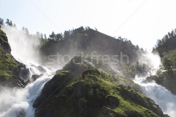 waterfall with trees around it Stock photo © Nelosa