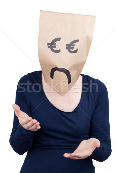 Euro rozpacz głowie patrząc smutne działalności Zdjęcia stock © Nelosa