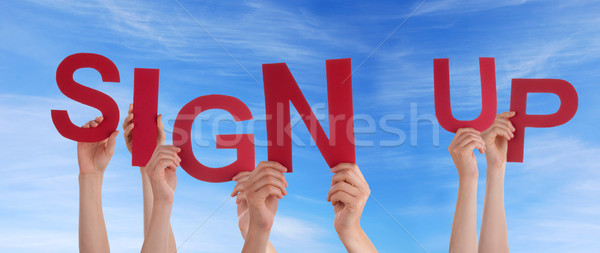 Hands Holding Sign Up in the Sky Stock photo © Nelosa