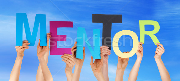 Many People Hands Holding Colorful Word Mentor Blue Sky Stock photo © Nelosa