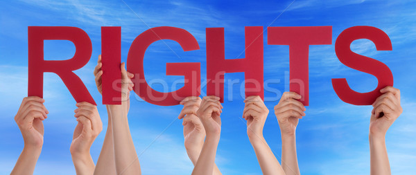 Many People Hands Holding Red Straight Word Rights Blue Sky Stock photo © Nelosa