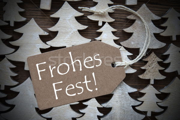Brown Label With Frohes Fest Means Merry Christmas Stock photo © Nelosa
