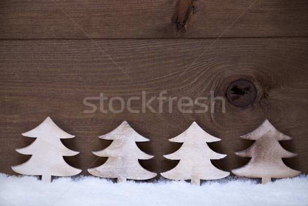 Négy fából készült karácsony fák hó copy space Stock fotó © Nelosa