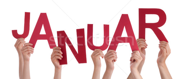 People Holding German Word Januar Means January Stock photo © Nelosa