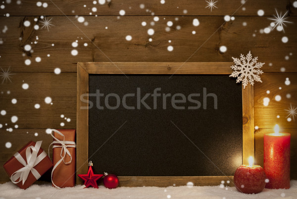Christmas Card, Blackboard, Snow, Snowflakes, Copy Space Stock photo © Nelosa