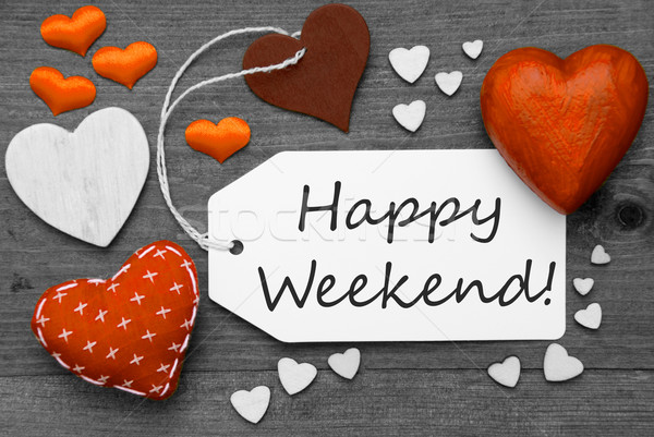 Black And White Label With Orange Hearts, Text Happy Weekend Stock photo © Nelosa