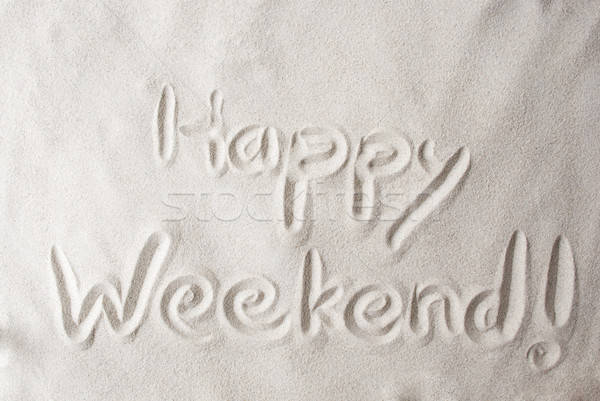Sand Background With Text Happy Weekend Stock photo © Nelosa