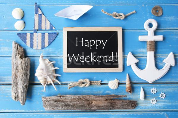 Schoolbord tekst gelukkig weekend Blauw houten Stockfoto © Nelosa