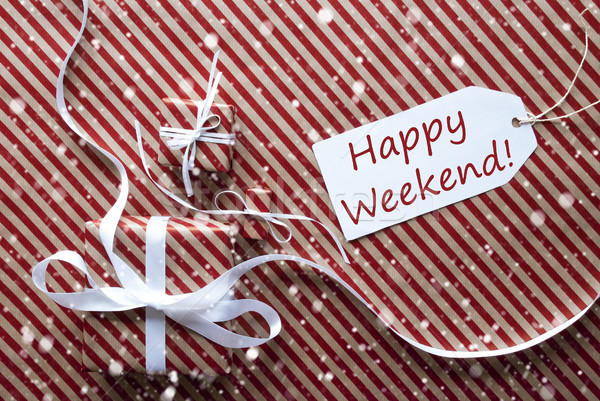 Gifts With Label, Snowflakes, Text Happy Weekend Stock photo © Nelosa