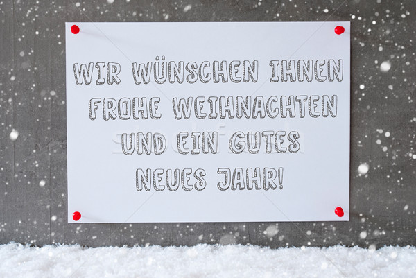 Label On Cement Wall, Snowflakes, Gutes Neues Means New Year Stock photo © Nelosa