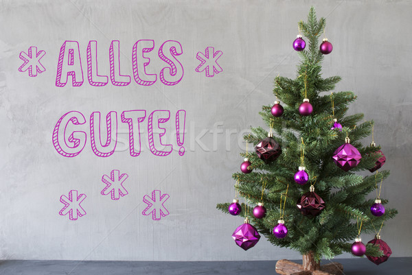 Christmas Tree, Cement Wall, Alles Gute Means Best Wishes Stock photo © Nelosa
