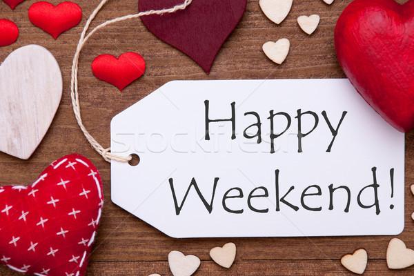 étiquette rouge coeurs texte heureux week-end Photo stock © Nelosa
