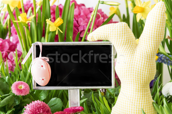 Easter Bunny, Colorful Spring Flowers, Copy Space Stock photo © Nelosa