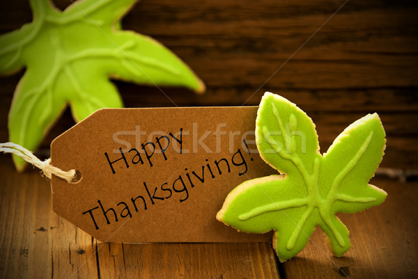 Happy Thanksgiving Label with Green Leaves Stock photo © Nelosa