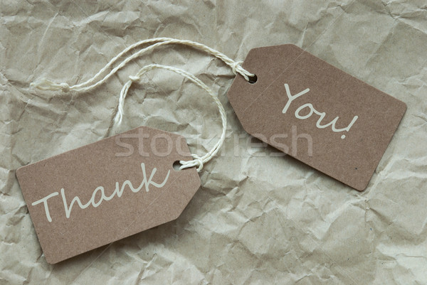 Two Beige Labels With Text Thank You Paper Background Stock photo © Nelosa