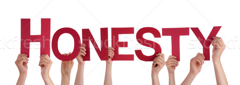Many People Hands Holding Red Straight Word Honesty Stock photo © Nelosa
