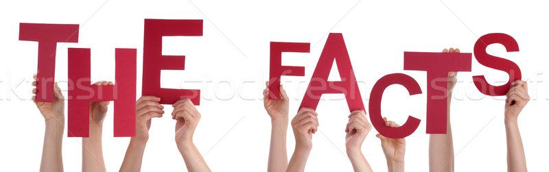 Pessoas mãos vermelho palavra fatos Foto stock © Nelosa