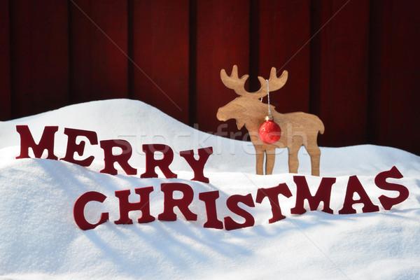 Kaart eland bal sneeuw vrolijk christmas Stockfoto © Nelosa