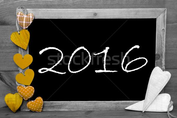 Blanc noir jaune coeurs 2016 tableau happy new year Photo stock © Nelosa