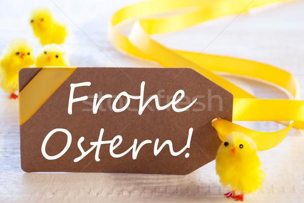 Címke szöveg kellemes húsvétot egy barna Stock fotó © Nelosa