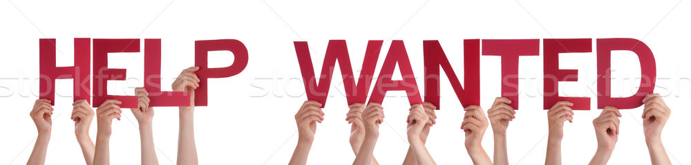 People Hands Holding Red Straight Word Help Wanted Stock photo © Nelosa