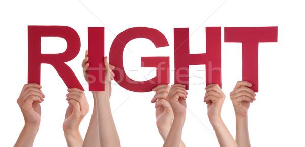 многие люди рук красный прямой Сток-фото © Nelosa