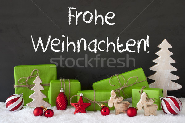 Decoration, Cement, Snow, Frohe Weihnachten Means Merry Christmas Stock photo © Nelosa