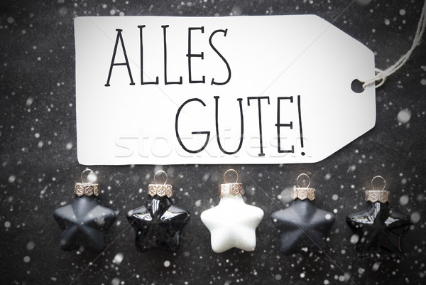 Black Christmas Balls, Snowflakes, Alles Gute Means Best Wishes Stock photo © Nelosa