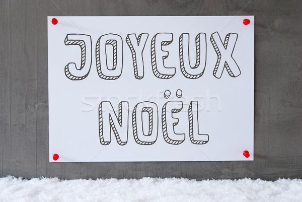 Label On Cement Wall, Snow, Joyeux Noel Means Merry Christmas Stock photo © Nelosa