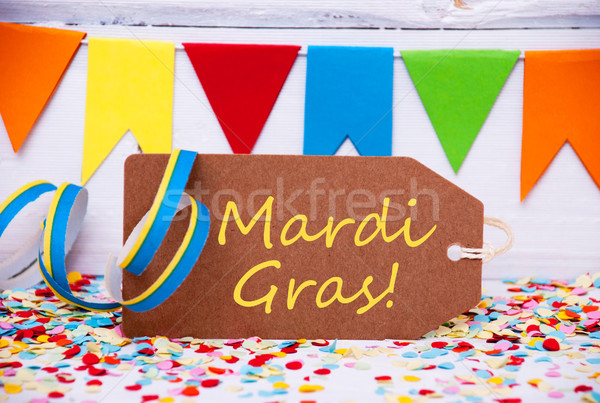 Party Label With Streamer, Text Mardi Gras Stock photo © Nelosa