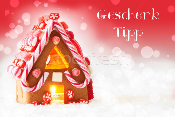 Gingerbread House, Red Background, Geschenk Tipp Means Gift Tip Stock photo © Nelosa