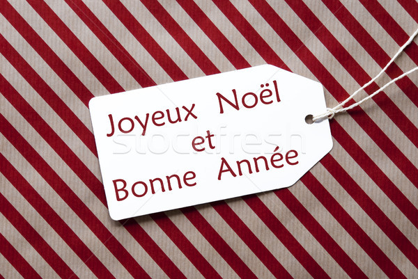 Label On Red Paper, Bonne Annee Means Happy New Year Stock photo © Nelosa