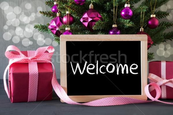 árvore presentes bokeh texto bem-vindo árvore de natal Foto stock © Nelosa