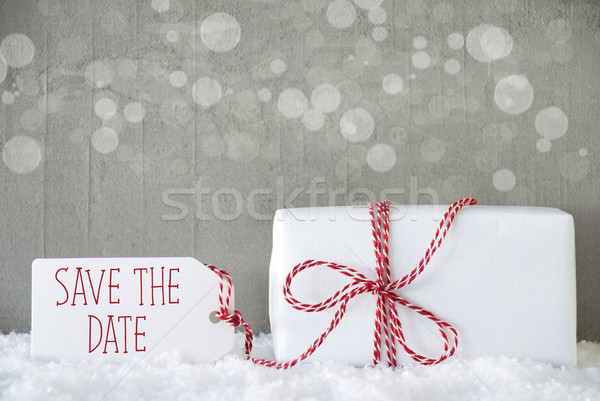 Gift, Cement Background With Bokeh, English Text Save The Date Stock photo © Nelosa