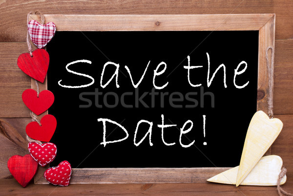 Stock photo: Chalkbord, Red And Yellow Hearts, Text Save The Date