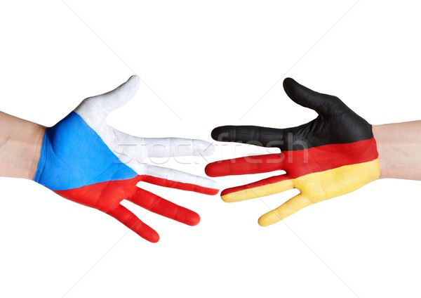 czech republic and germany symbolized with hands Stock photo © Nelosa