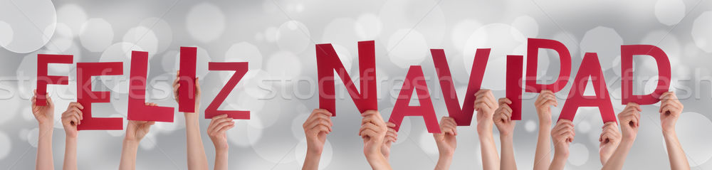 People Holding Feliz Navidad on Festive Background Stock photo © Nelosa