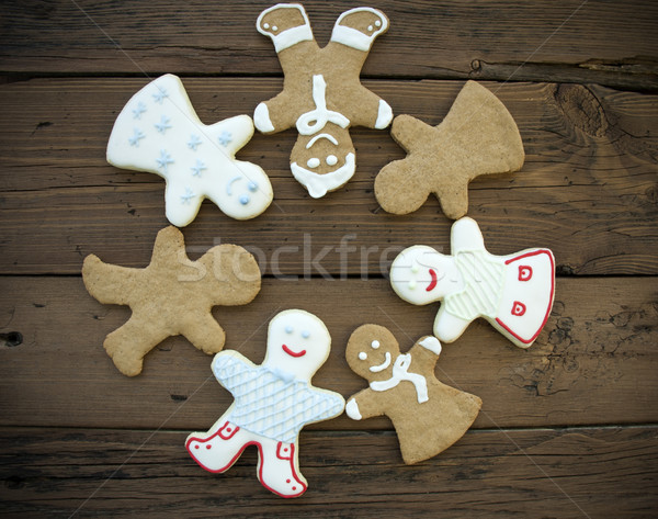 Happy Ginger Bread People Building a Circle Stock photo © Nelosa