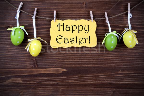 желтый Label четыре пасхальных яиц Христос воскрес Пасху Сток-фото © Nelosa
