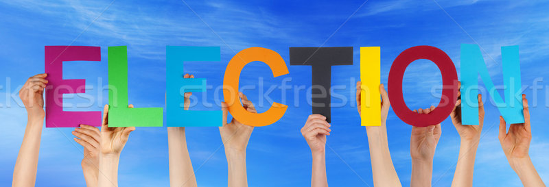 Many People Hands Holding Colorful Straight Word Election Blue S Stock photo © Nelosa