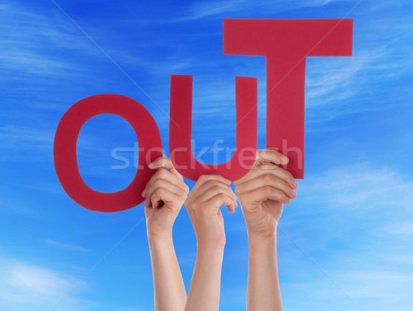 Many People Hands Holding Red Word Out Blue Sky Stock photo © Nelosa
