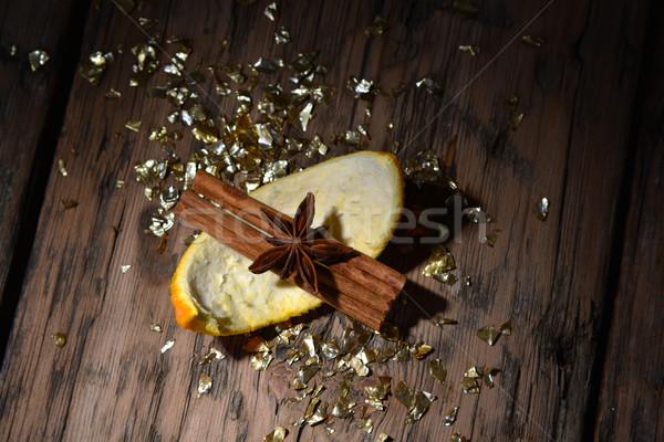Decorazione glitter arancione cannella anice Foto d'archivio © Nelosa