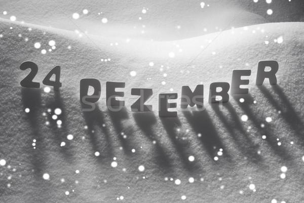 Beyaz kelime 24 aralık kar kar taneleri Stok fotoğraf © Nelosa