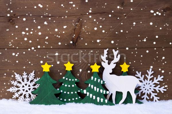 Noel dekorasyon ren geyiği kar kar taneleri Stok fotoğraf © Nelosa
